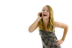 Muchacha pequeñita en el teléfono Fotografía de archivo