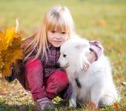 Muchacha, perro, beso, diversión, cierre para arriba Imagen de archivo libre de regalías