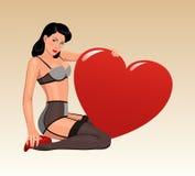 Muchacha Pin-para arriba con el corazón grande stock de ilustración