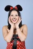 Muchacha pintada feliz del ratón Foto de archivo
