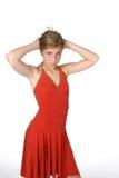 Muchacha pre adolescente en alineada roja Imagenes de archivo