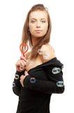 Muchacha preciosa con el ventilador en forma de corazón Fotografía de archivo
