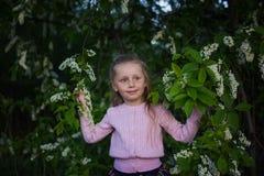 Muchacha preciosa con un cerezo floreciente Niñez alergia Primavera Imagen de archivo