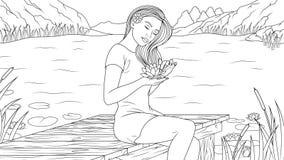 Muchacha preciosa en la playa stock de ilustración