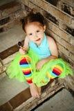Muchacha preescolar con el lechón del tutú y del caramelo Imagen de archivo libre de regalías