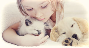 Muchacha que abraza cariñosamente el gatito y el perrito fotografía de archivo