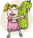 Muchacha que abraza la salmuera Imagen de archivo