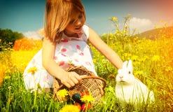 Muchacha que acaricia el conejito de pascua en prado con los huevos foto de archivo