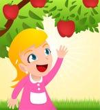 Muchacha que ase una manzana de un árbol Fotografía de archivo libre de regalías