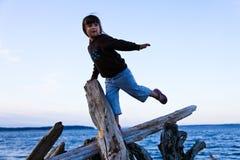 Muchacha que balancea en el Driftwood en la playa Imágenes de archivo libres de regalías