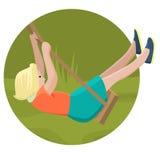 Muchacha que balancea en un oscilación en diseño plano libre illustration