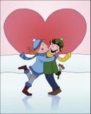 Muchacha que besa a un muchacho Imagen de archivo libre de regalías