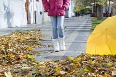 Muchacha que camina abajo de la calle con las hojas de otoño Imágenes de archivo libres de regalías