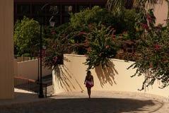 Muchacha que camina en un jardín de flores fotos de archivo