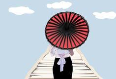 Muchacha que camina sosteniendo un paraguas ilustración del vector