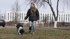 Muchacha que camina un perro ciego grande en la primavera metrajes