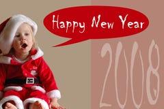 Muchacha que canta Feliz Año Nuevo foto de archivo