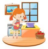 Muchacha que cocina en la cocina libre illustration