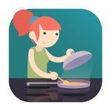 Muchacha que cocina la comida en la inducción Cooktop con la cacerola un diseño plano de la historieta del icono del logotipo Fotografía de archivo