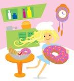 Muchacha que cocina los dulces y los postres para el día de fiesta en cocina Imagen de archivo
