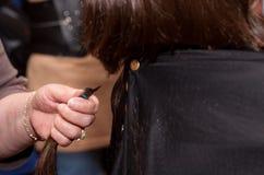 Muchacha que consigue un corte de pelo Imagen de archivo libre de regalías