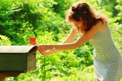 Muchacha que controla el correo Foto de archivo