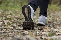 Muchacha que corre en el parque, otoño Fotografía de archivo libre de regalías