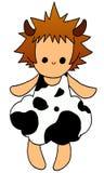 Muchacha que desgastó la alineada de la vaca Imagen de archivo libre de regalías