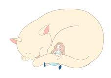 Muchacha que duerme con el gato stock de ilustración