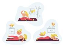 Muchacha que ejercita aptitud en casa Concepto sano de la forma de vida del deporte fijado con la mujer apta que hace Pilates, yo stock de ilustración