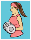Muchacha que ejercita con la historieta grande de las pesas de gimnasia libre illustration