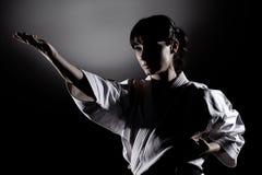 Muchacha que ejercita karate Fotografía de archivo libre de regalías