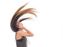 Muchacha que escucha el baile de la música Fotos de archivo libres de regalías