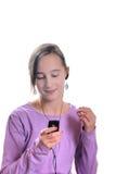 Muchacha que escucha el jugador Imagen de archivo libre de regalías