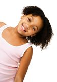 Muchacha que estira su cuello Foto de archivo libre de regalías