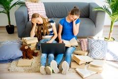 Muchacha que estudia en el país Imagenes de archivo