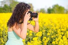 Muchacha que fotografía la flor de oro hermosa del campo Fotos de archivo libres de regalías
