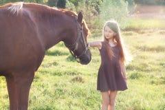 Muchacha que frota ligeramente su caballo Fotografía de archivo