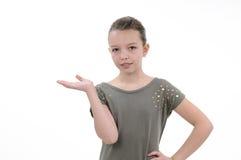 Muchacha que gesticula con la mano Fotos de archivo