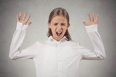 Muchacha que grita, boca abierta de par en par del adolescente, histérica Fotografía de archivo libre de regalías