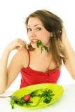 Muchacha que guarda una dieta Imagen de archivo libre de regalías