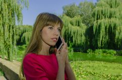 Muchacha que habla en el teléfono celular Foto de archivo