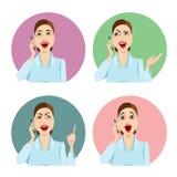 Muchacha que habla en el teléfono, diversas emociones ilustración del vector