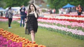 Muchacha que habla en el tel?fono en el campo del tulip?n almacen de metraje de vídeo
