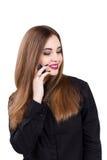 Muchacha que habla en un teléfono móvil Retrato de una muchacha Foto de archivo