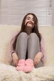 Muchacha que hace el bigote Imagenes de archivo