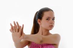 Muchacha que hace gesto de la parada Fotos de archivo libres de regalías