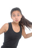 Muchacha que hace la cara divertida Imagen de archivo