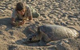 Muchacha que hace una foto de tortuga de mar Imagen de archivo