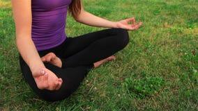 Muchacha que hace yoga en el parque almacen de metraje de vídeo